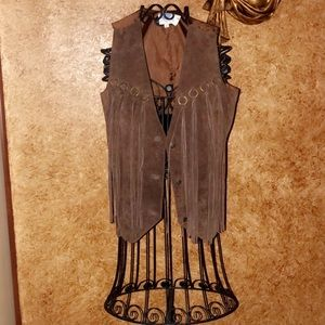 ❤️ Brand New! Western Look Faux Suede Fringe Vest